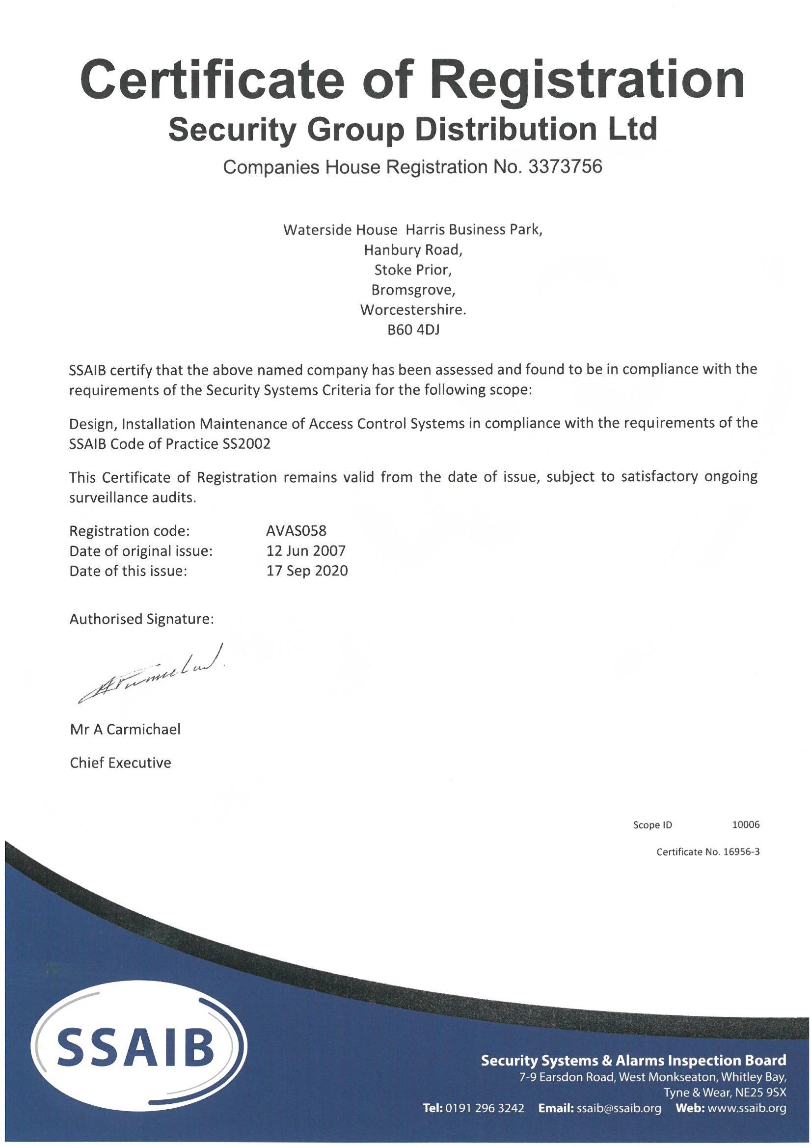 SSAIB Code of Practice SS2002 Certificate No. 16956