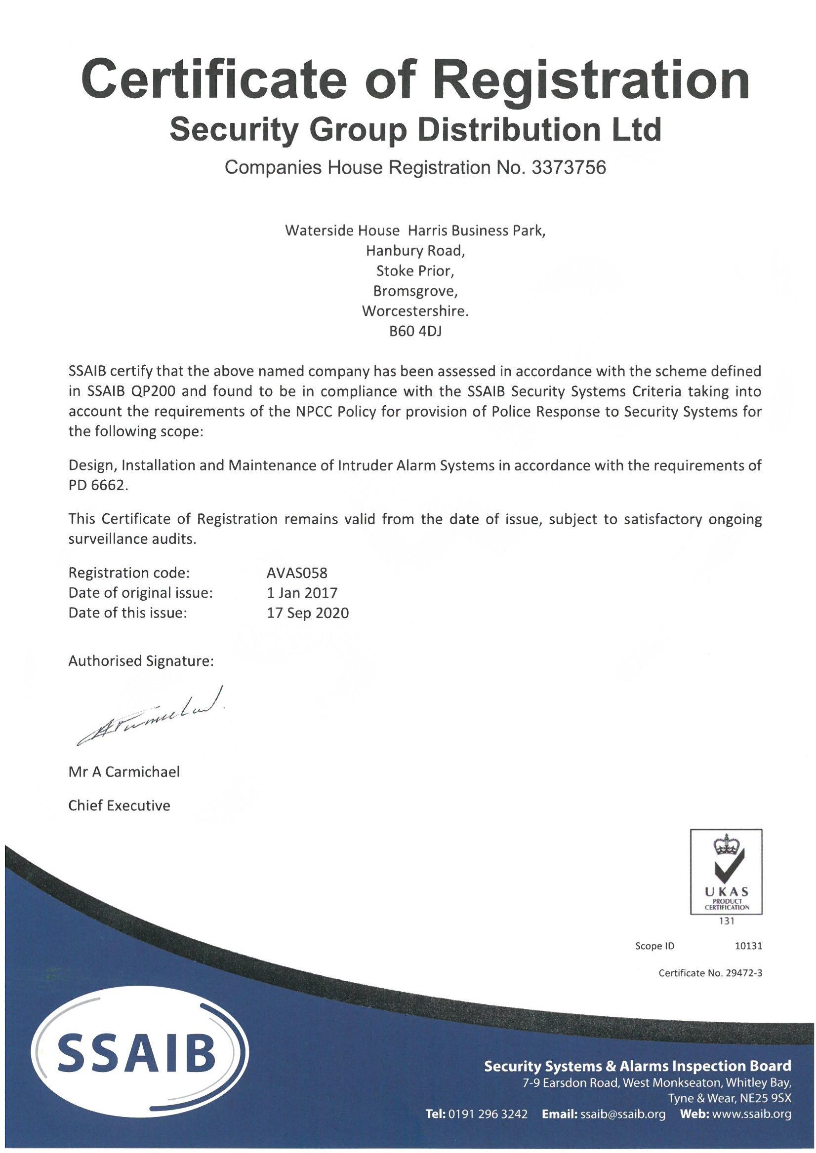 SSAIB QP200 PD 6662 Certificate No. 29472